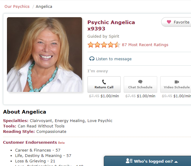 Psychic Angelica x9393 - Guided by the Spirit. Compassionate and can read without tools. She is Love Psychic, a clairvoyant and provides energy healing.