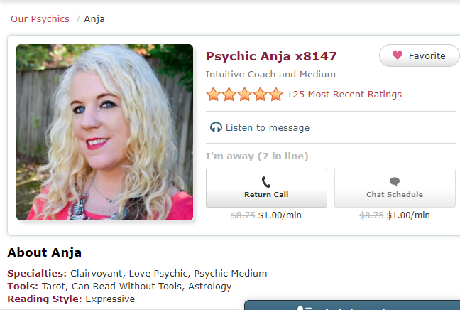 Psychic Anja x8147 - Intuitive Coach and Medium. Clairvoyant, Love Psychic and can communicate with people who have passed on.