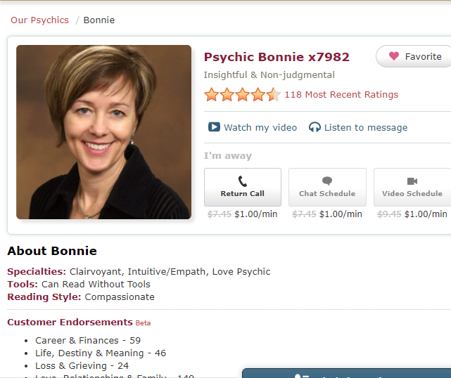 Psychic Bonnie x7982 - Insightful and Non-judgmental. Clairvoyant, Intuitive/Empath and a Love Psychic