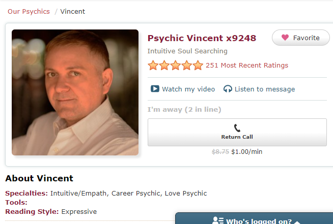 Psychic Vincent - Intuitive, Kind, Empathetic - specialises in Love and Career with a 5 star rating from customers